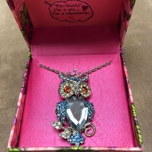 Betsey Johnson Owl Necklace/Pin. New In Box